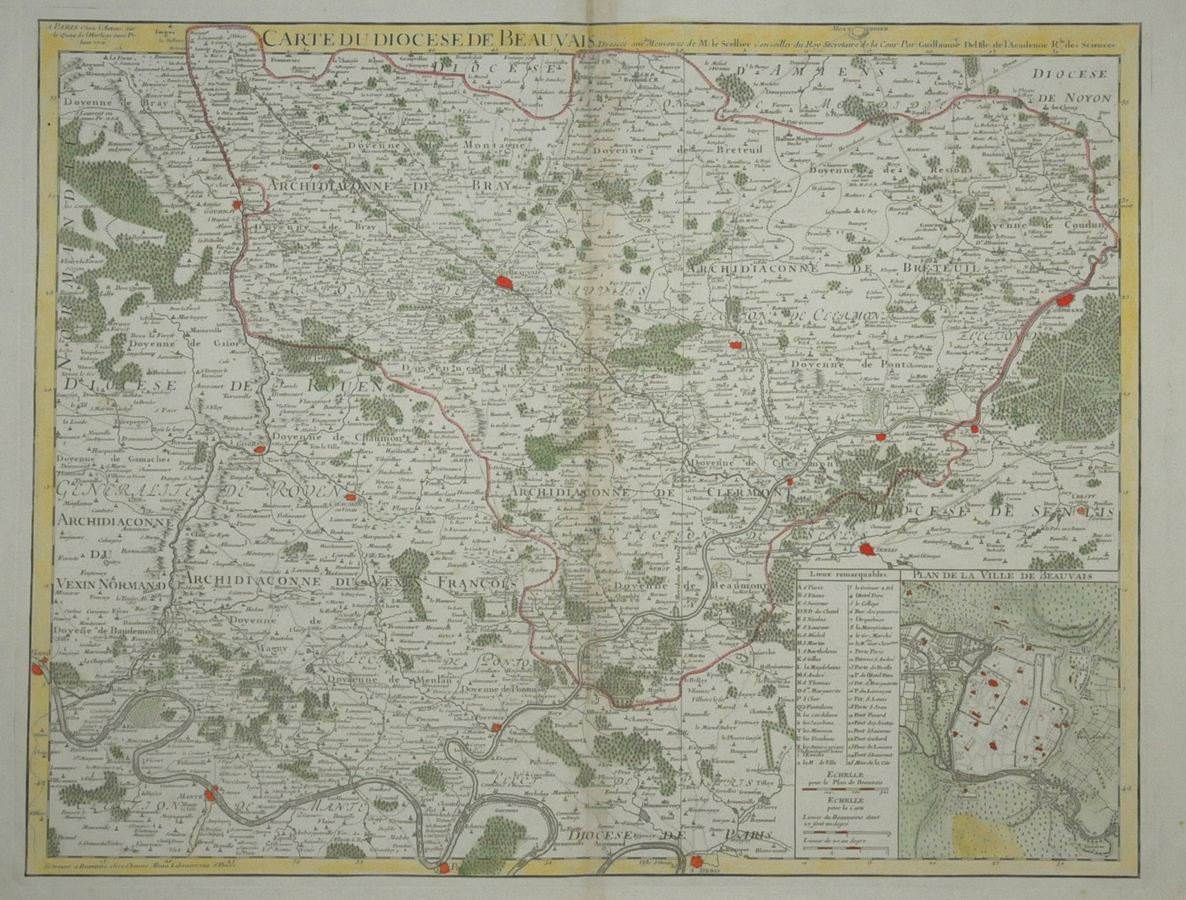 Carte du diocèse de beauvais cartes livres anciens