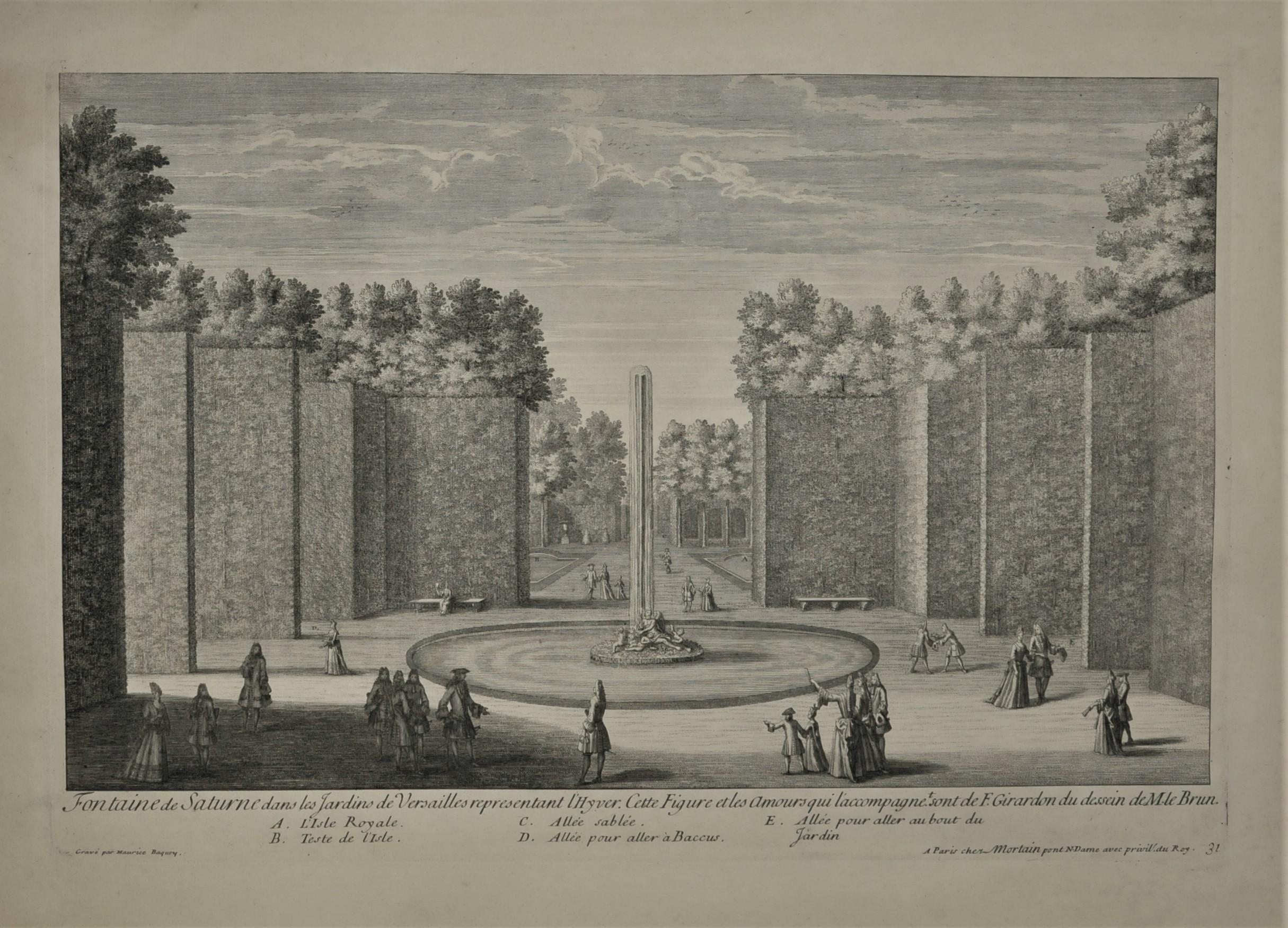 Gravure ancienne - Fontaine de Saturne dans les Jardins de ...