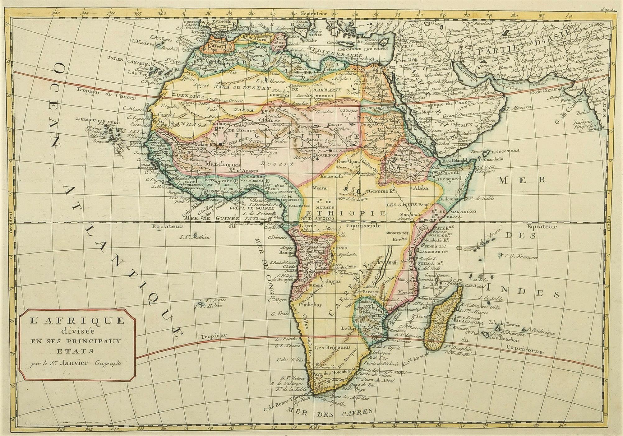 Carte De Lafrique Antique.Carte Ancienne De L Afrique Janvier Sr Cartographe Antique Map