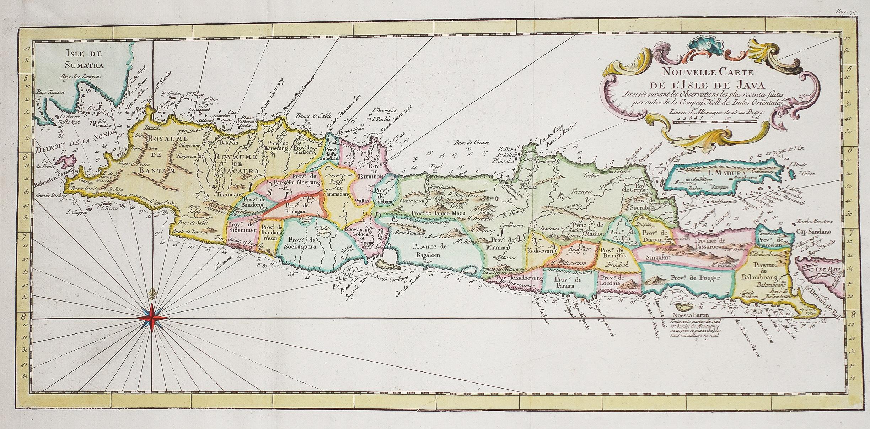 Carte Geographique Asie Pacifique.Nouvelle Carte De L Isle De Java Bellin Cartographe Antique Map