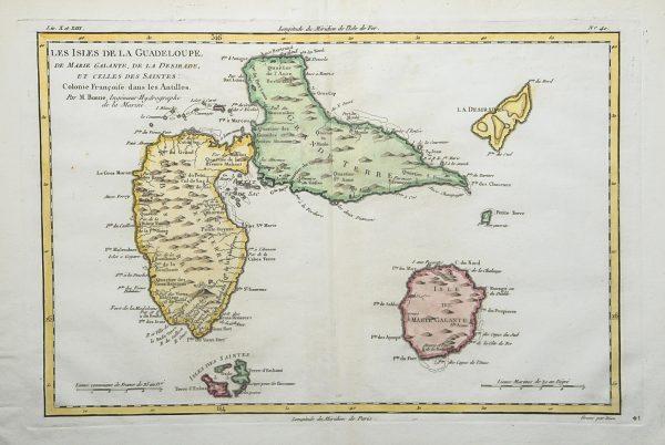 Carte Oro Hydrographique Chine.Carte Geographique Ancienne Des Iles De La Guadeloupe De Marie Galante De La Desirade Et Des Saintes Bonne Cartographe Original Antique Map