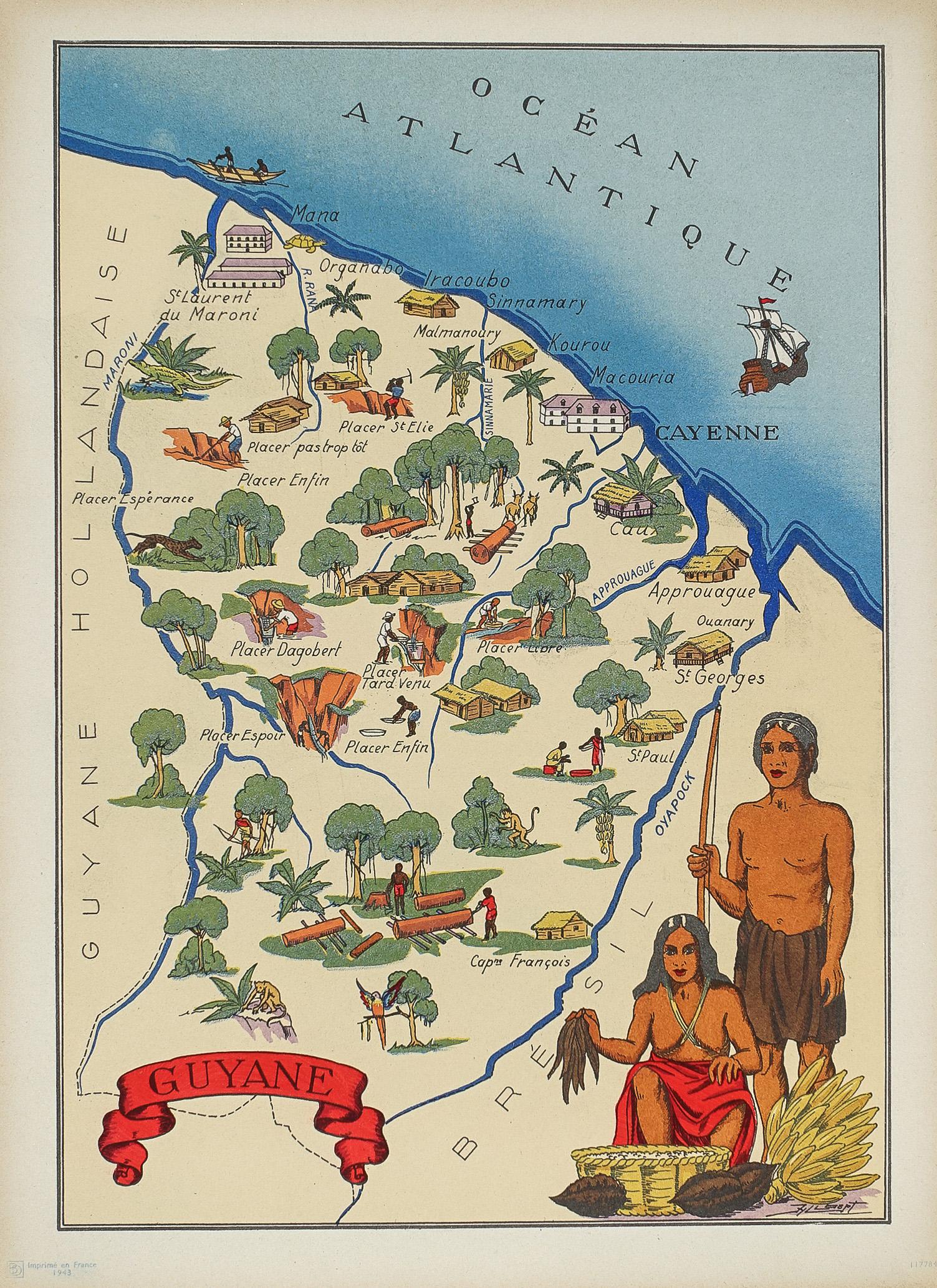 Carte géographique ancienne - Cayenne - original antique map ...
