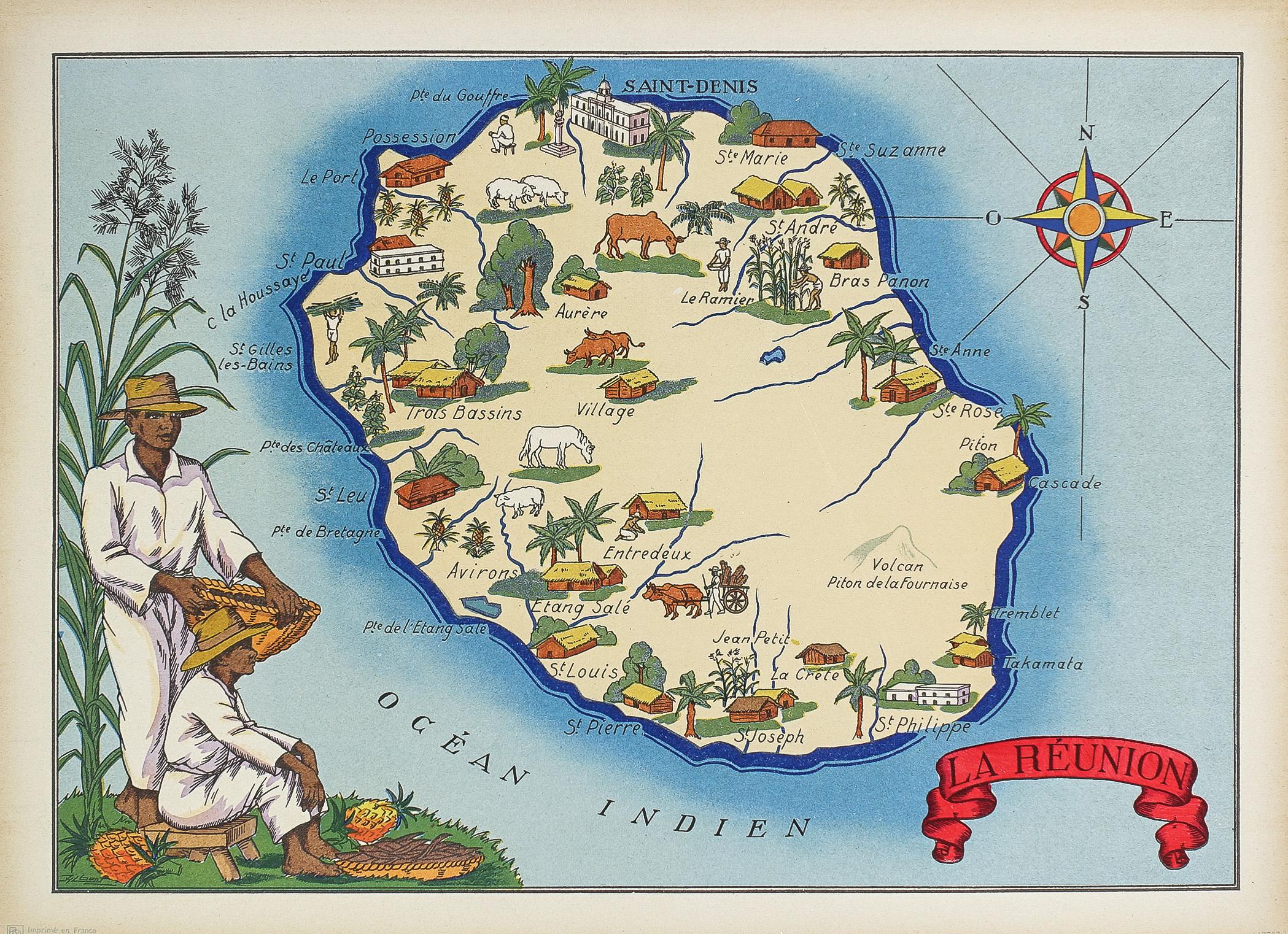 Carte Geographique Ancienne La Reunion Original Antique Map Cartes Livres Anciens Com