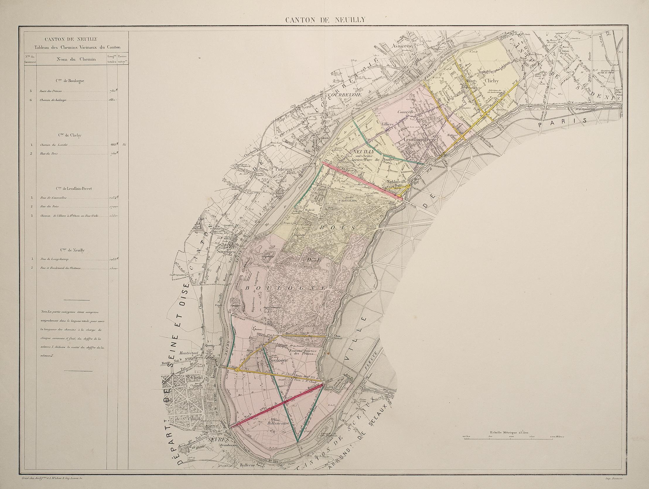 Plan Ancien Neuilly Sur Seine Boulogne Levallois Perret Clichy Original Antique Plan Cartes Livres Anciens Com
