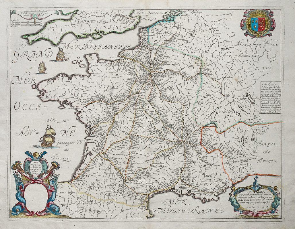 Carte géographique ancienne - Carte des postes qui ...